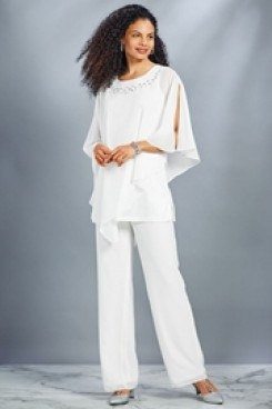 New style Mother of the bride Pant suit White Chiffon Beach wedding Trouser outfit nmo-437