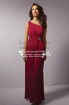 One shoulder Ruby Color chiffon Burgundy dress for beach wedding wide leg pants nmo-206