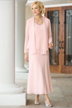 Pearl Pink chiffon Mother of the bride dresses Comfortable Summer beach Wedding outfit nmo-464