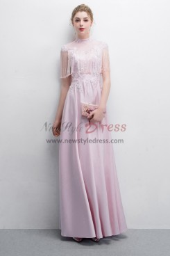 Pink Charmeuse Prom dresses With Hand Beaded Tassel NP-0386