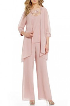 Pink Chiffon 3 PCS Outfit Mother of the bride pant suit With Jacket nmo-382