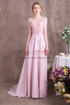 Pink Chiffon Prom dresses with Hand Beading Spring New arrival NP-0379