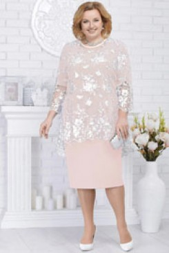 Pink Plus size Mother of the bride dresses Knee-Length 2PC women's outfits nmo-565