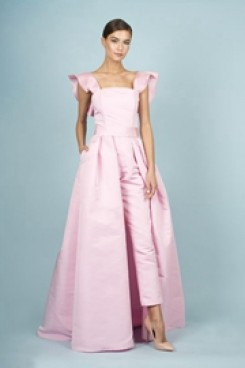 Pink Satin Bridal Jumpsuits Spring Wedding Pants Dresses With Detachable Train wp-145