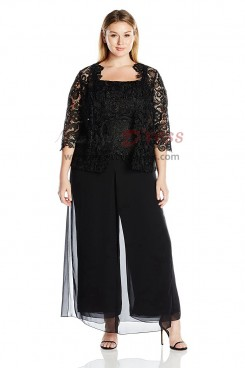 Plus size Black Three pieces Lace mother of the bride pant suits nmo-415