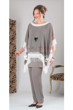 Plus size Gray three piece Chiffon mother of the Pants set nmo-158