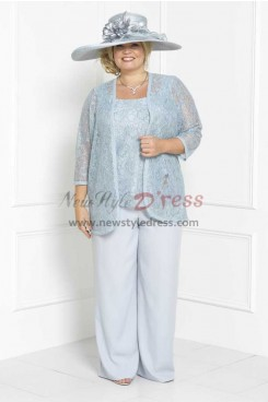 Plus size Lace Three piece Mother of the bride pant suits dress nmo-305