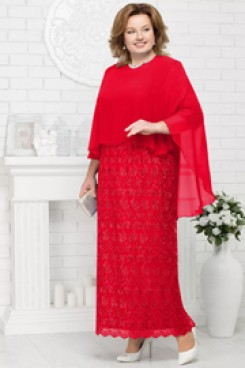 Plus size mother of the bride dresses with chiffon Poncho Red Lace Evening Gown nmo-568