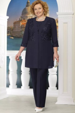 Black Plus size Mother of the bride pant suit with jacket 3PC Trousers outfits nmo-575