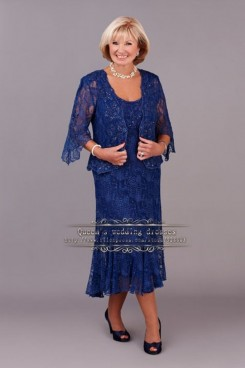 Plus Size Royla Blue Lace Two Piece Mother Of the bride Dresses cms-109