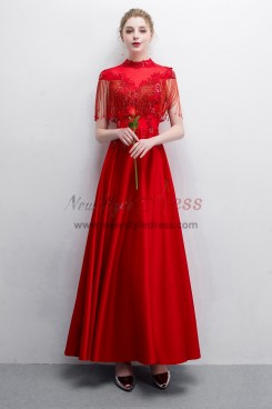 Red Beaded Satin Prom dresses With Tassel NP-0387