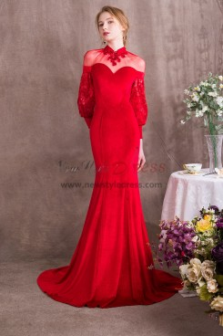 Red Court Train Prom dresses With puff sleeve NP-0372