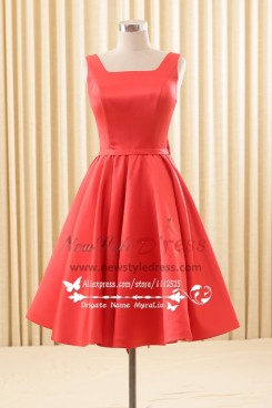 Red Homecoming dress Simple Knee-Length bridesmaid dresses Red
