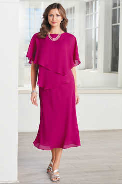 Mid-Calf Rose red Chiffon Mid-Calf Mother of the bride dresses Custom-made Plus size nmo-479