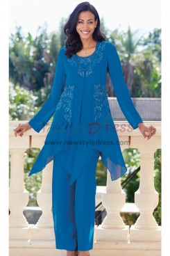 Beaded Chiffon Mother of the bride pantsuit Royal Blue Elastic waist Trouser outfit nmo-447