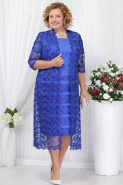 Royal blue Plus size Mother of the bride dress with jacket  Mid-Calf lace women's outfit nmo-590