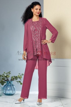 Rust red Three pieces Mother of the bride pant suit dress with Sequins nmo-441
