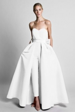 Satin Wedding Jumpsuit dresses With Detachable Train White wps-167