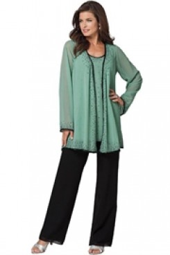 Scattered beads Chiffon Three Piece mother of the bride pants suits with long sleeves Jacket nmo-048