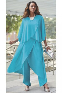 Sea blue Mother of the bride pantsuit dresses Beach Wedding Chiffon Ocean Blue outfits nmo-444