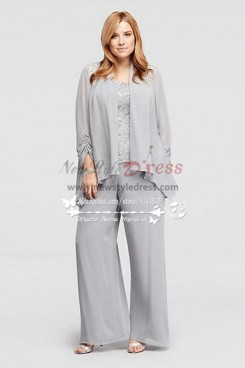 Silver chiffon mother of the bride pant suits with jacket Wedding trousers set nmo-269
