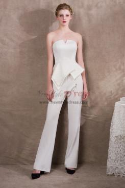 Simple Ivory Bridal Jumpsuits Italian satin New arrival NP-0408