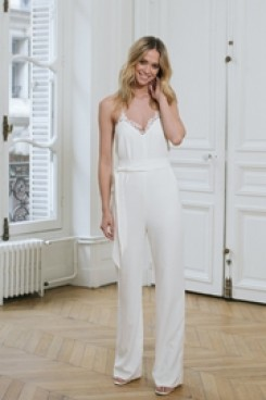 Spaghetti Chiffon Bridal Jumpsuit Lace edge Beach Wedding Dresses wps-159
