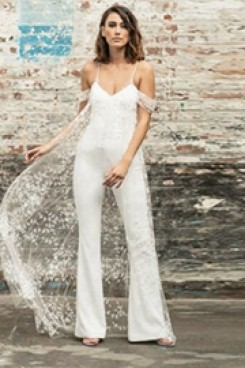 Spaghetti Dressy Wedding Jumpsuit bride dresses wps-104