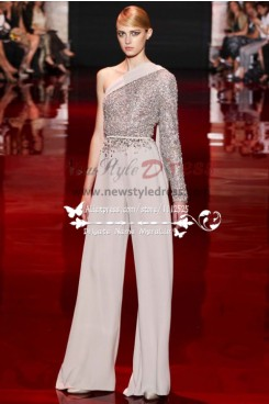 Spring Beautiful One Shoulder bridal chiffon Jumpsuit Fashion Prom dresses nmo-247