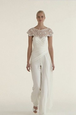 Beautiful Chiffon bridal jumpsuit wedding dresses with delicate hand beaded cape wps-044