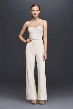 Sweetheart Bridal Jumpsuit Gown Chest with hand flowers wps-162