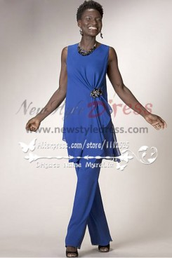 Two Picec mother of the bride Blue Chiffon pant suit Sleeveless nmo-175