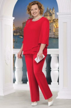 Red Plus size Mother of the bride pant suits Two piece Chiffon women outfits nmo-572