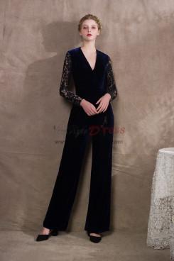 Two Piece Bridal pantsuits Lace top and Pleuche pants NP-0411
