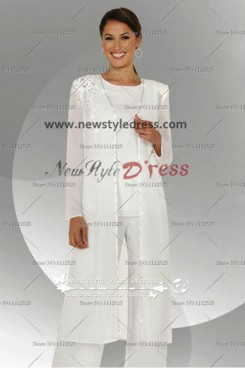 White Embroidery Cheap Elegant Mother Of The Bride Pants Suit nmo-109