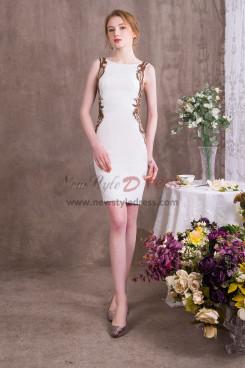 White Prom dresses Hand Beading Short Sheath Dress NP-0378