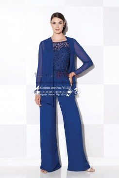 Women's delicate royal blue chiffon wedding party dress with hand beading mother of the bride pant suits nmo-194