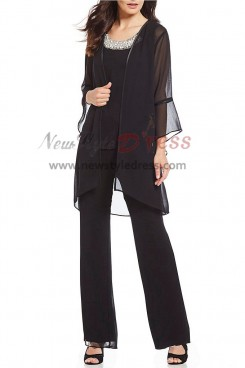 Women Trousers set Black Chiffon 3 pieces Mothers pants suit for Weding nmo-407